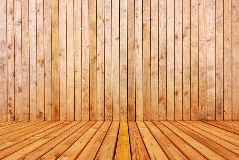 3d de madeira esvaziam o interior da sala imagens de stock