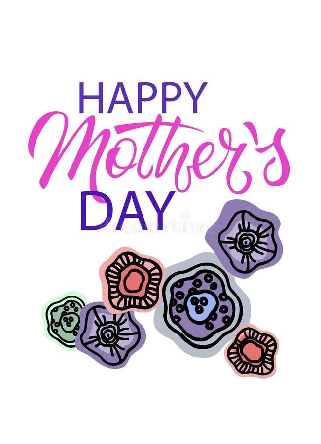D?a de madres feliz Frase del saludo del día de fiesta con la decoración floral Letras de la mano y flores abstractas a mano stock de ilustración