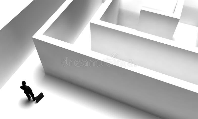 3d: De mens treft voorbereidingen om Labyrint in te gaan stock illustratie