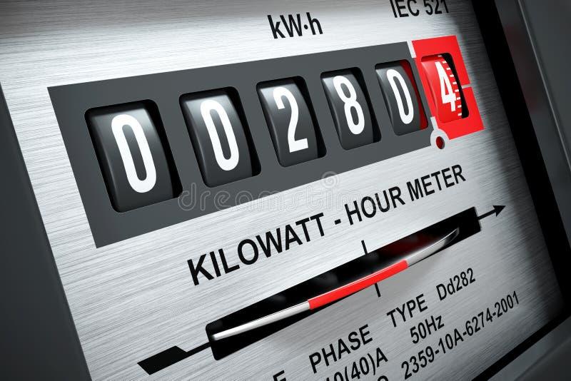 3d de meter van het elektriciteitskilowatt-uur vector illustratie