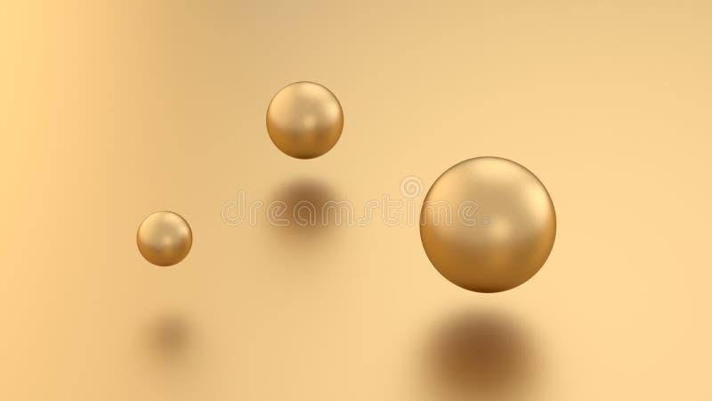 3d de oro rinden bolas de la esfera en fondo del metal con la reflexión Elemento de lujo moderno del diseño para el diseño de la  fotografía de archivo