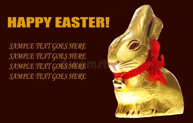 d'or de Pâques de chocolat de lapin d'isolement photos libres de droits