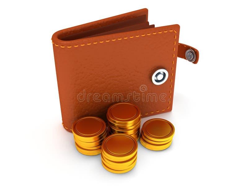3d de portefeuille et de pièces de monnaie en cuir ouverts sur le blanc illustration libre de droits