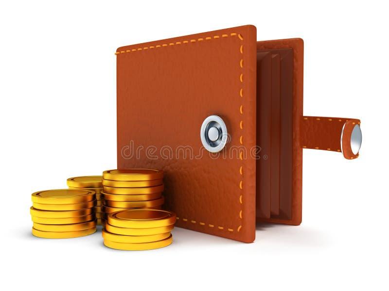 3d de portefeuille et de pièces de monnaie en cuir ouverts sur le blanc illustration stock