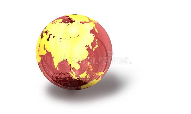 3d: De rode Glazige Mening van de Aardebol van Azië royalty-vrije illustratie