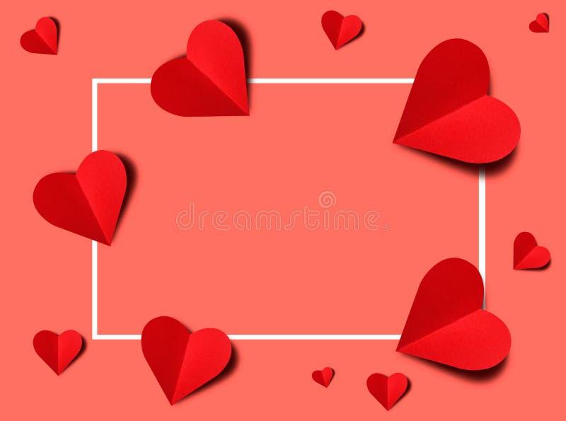 D?a de tarjetas del d?a de San Valent?n feliz, coraz?n rojo del papel Buena tarjeta del d?a de fiesta libre illustration