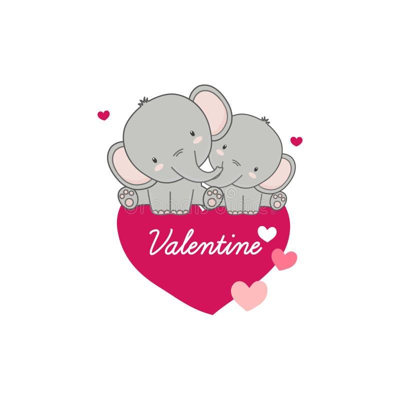 D?a de tarjetas del d?a de San Valent?n feliz Elefantes y corazones lindos de los pares libre illustration
