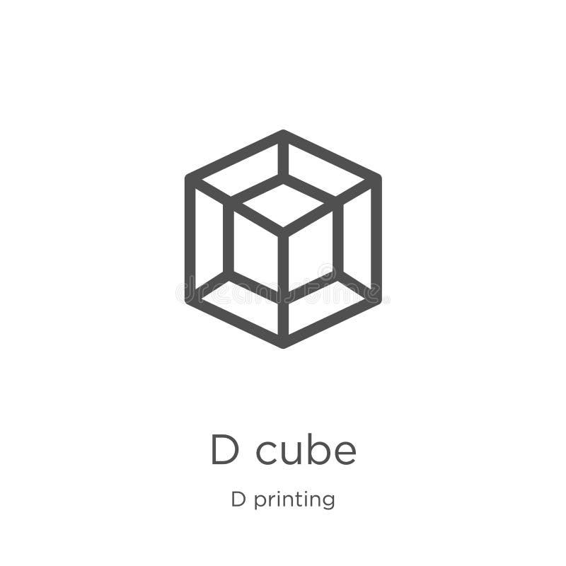 D de vector van het kubuspictogram van de drukinzameling van D Dunne van het de kubusoverzicht van lijnd het pictogram vectorillu stock illustratie