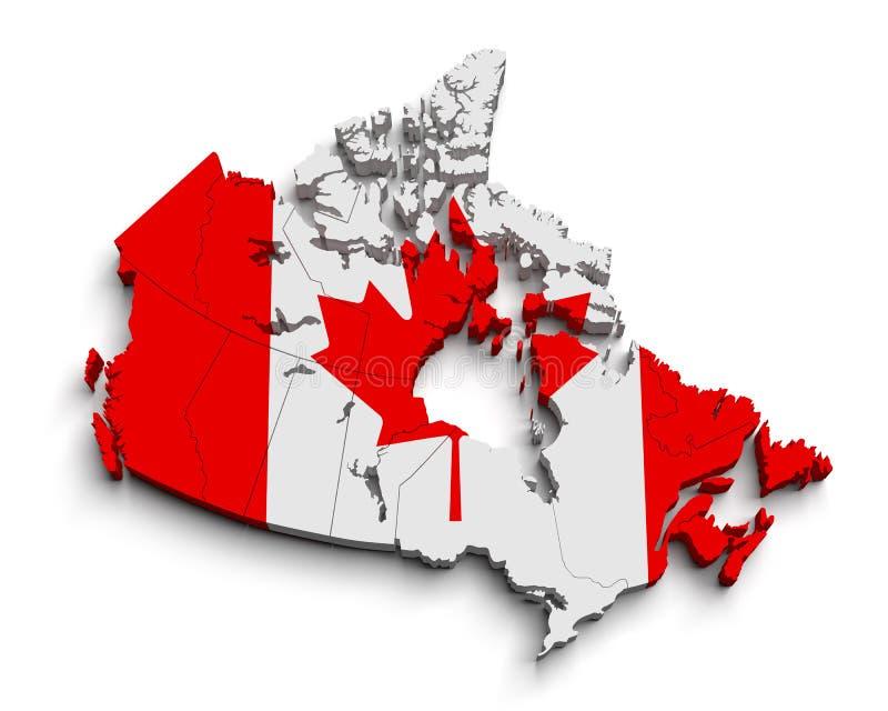 3d de vlagkaart van Canada op wit stock illustratie