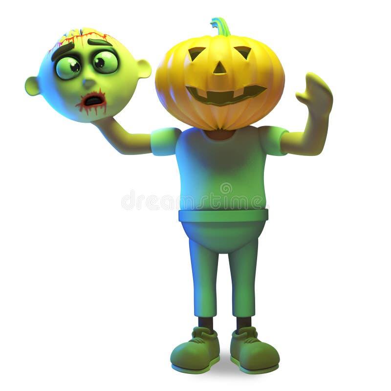 3d de zombiemonster van beeldverhaalhalloween heeft een gesneden pompoen voor een hoofd, 3d illustratie royalty-vrije illustratie