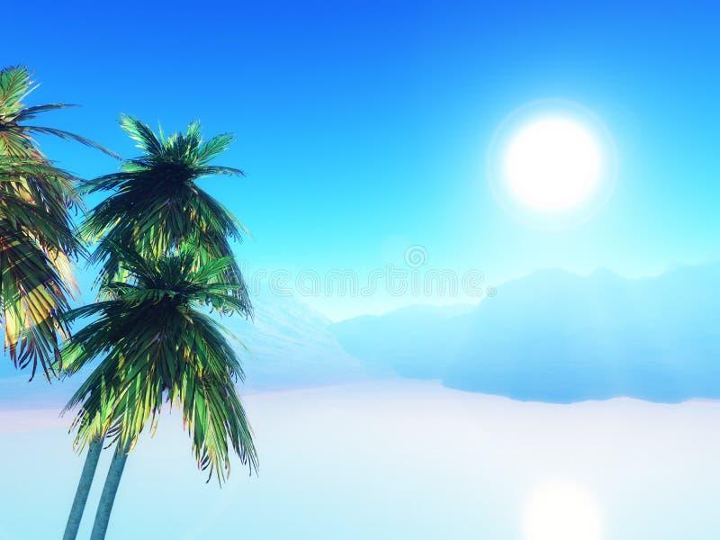 3D de zomerlandschap met palmen stock illustratie