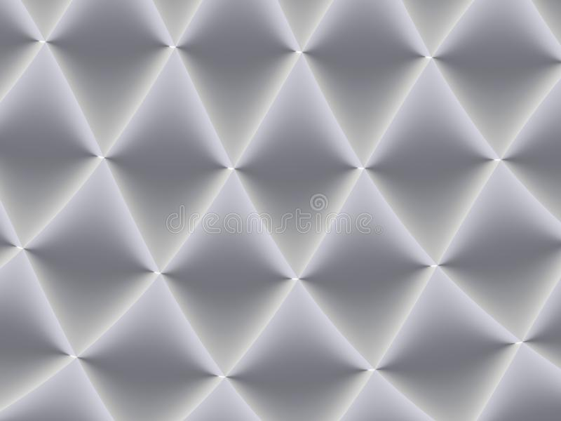 3D decorated white and light grey rhombuses in a repeating pattern. Futuristic geometric monochromatic design for backgrounds, stock photo