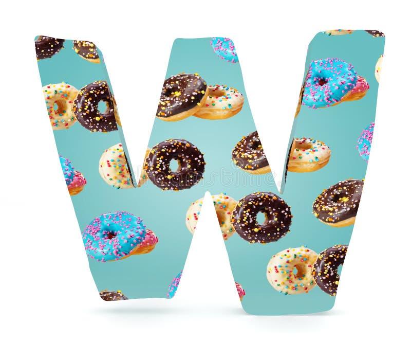 3D decoratief Alfabet, hoofdletterw gebruikt patroon van donuts stock foto