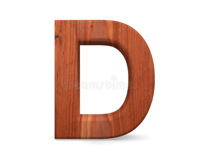 3D decoratief houten Alfabet, hoofdletter D stock foto