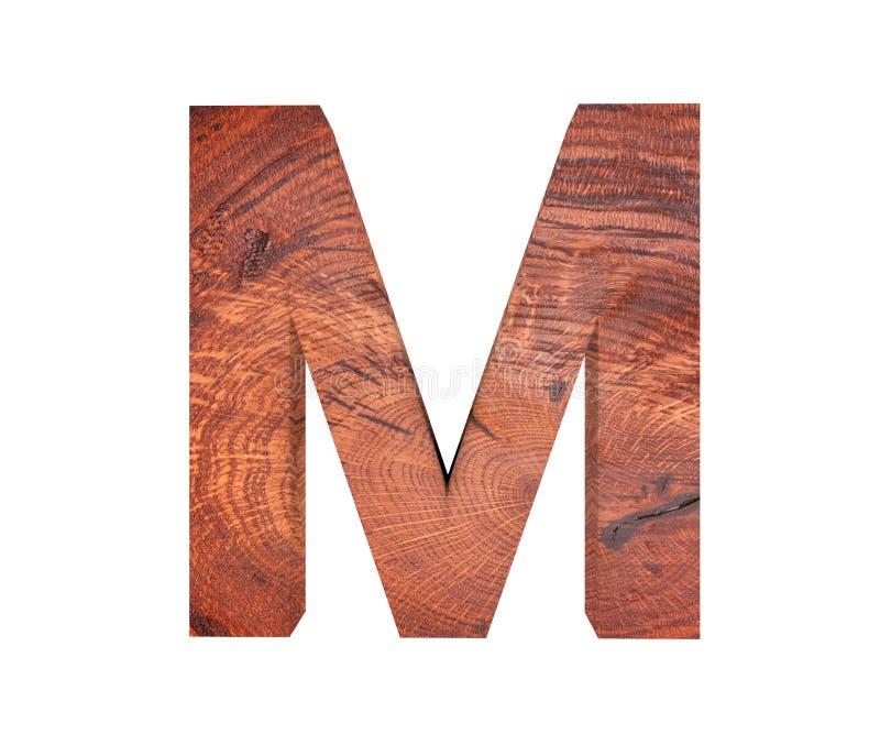 3D decoratief houten Alfabet, hoofdletter M stock fotografie
