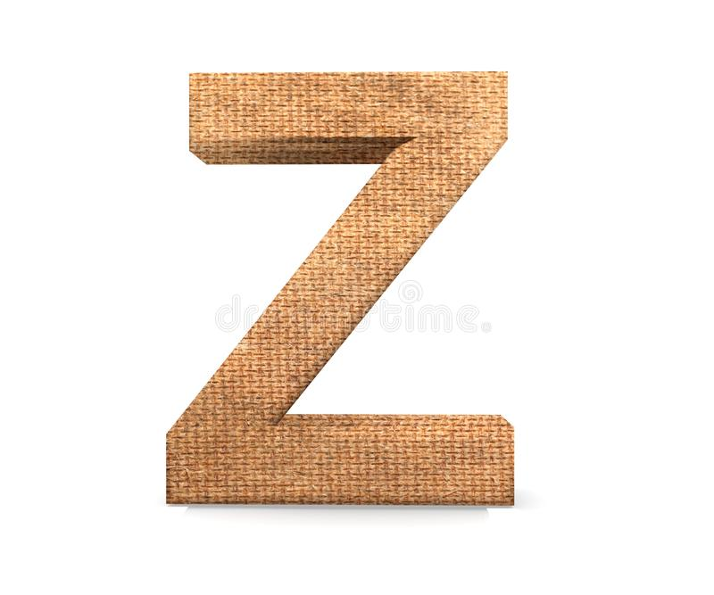 3D decorative Letter from an burlap Alphabet, capital letter Z. royalty free stock photography