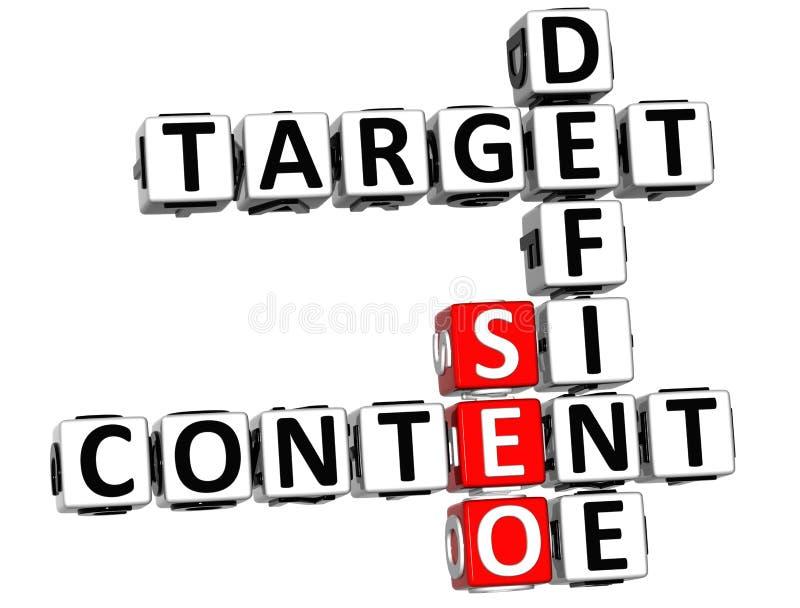 3D Define Target Content Crossword stock image