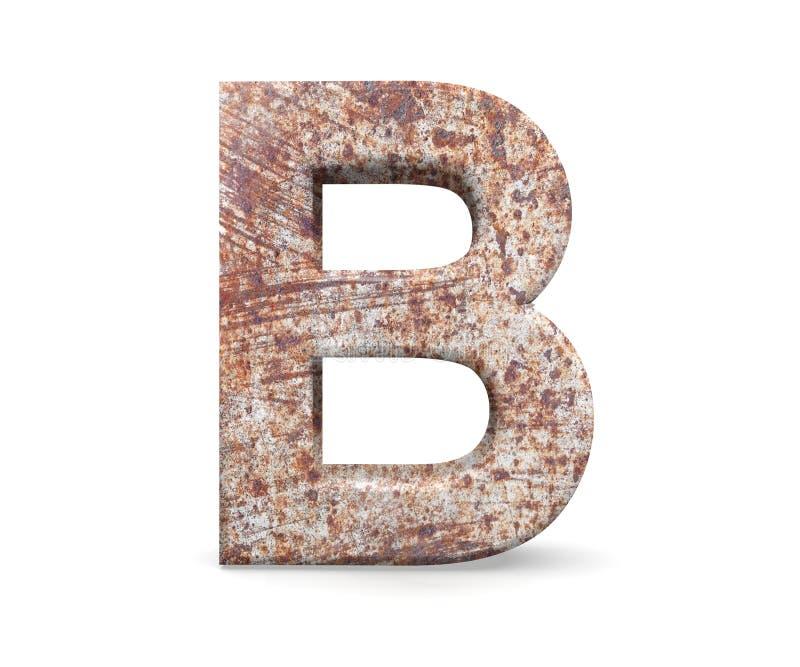 3D dekorativ bokstav från ett gammalt rostigt metallalfabet, versal B arkivfoto