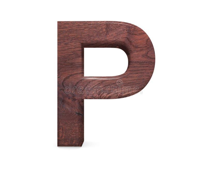 3D dekoratives Brown polierte hölzernes Alphabet, Großbuchstaben P stockbild