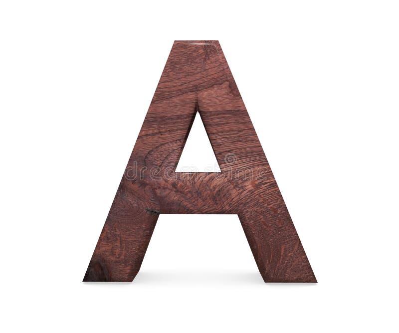 3D dekorativt brunt polerat träalfabet, versal A royaltyfri illustrationer