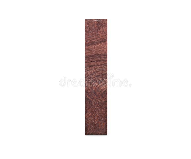3D dekorativt brunt polerat träalfabet, versal I stock illustrationer