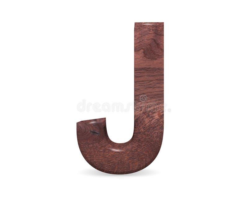 3D dekorativt brunt polerat träalfabet, versal J stock illustrationer