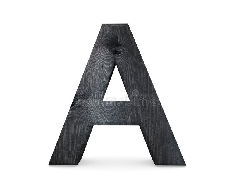 3D dekorativt träalfabet, versal A royaltyfri illustrationer