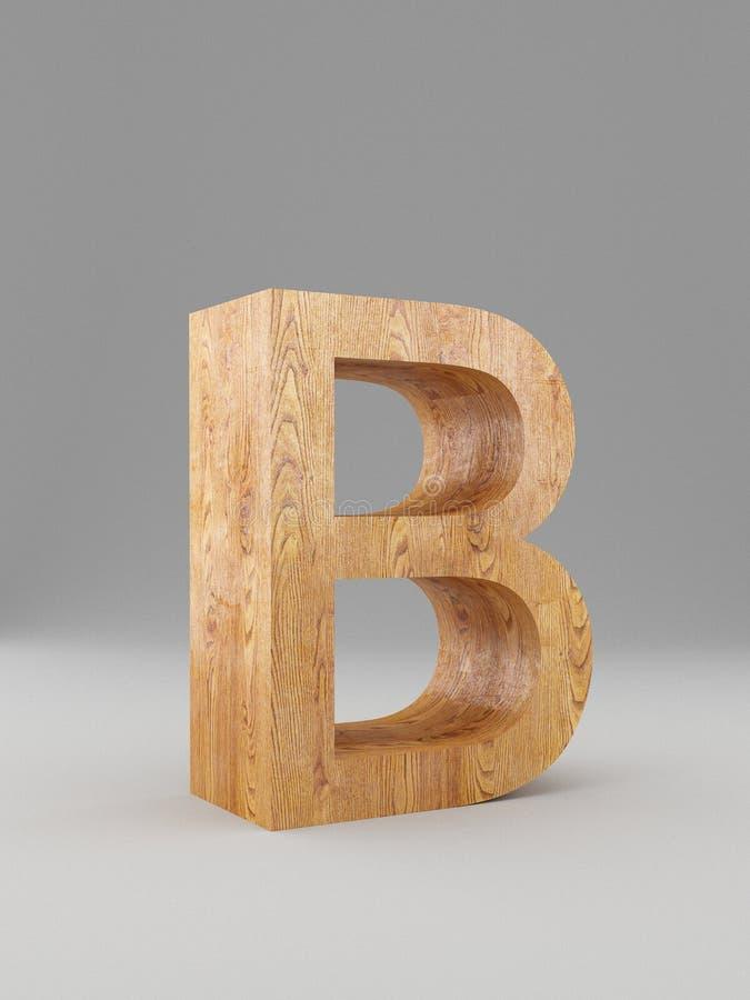 3D dekorativt träalfabet, versal B isolerat stock illustrationer
