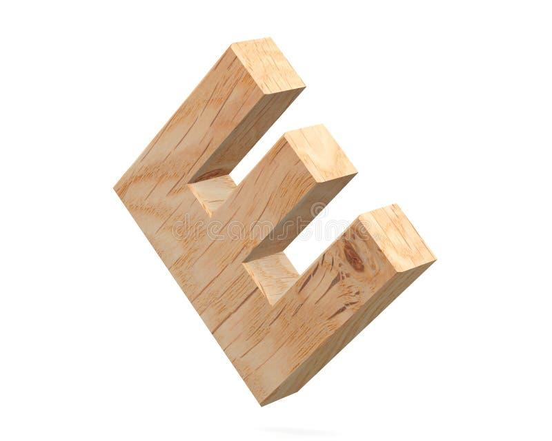 3D dekorativt träalfabet, versal E vektor illustrationer