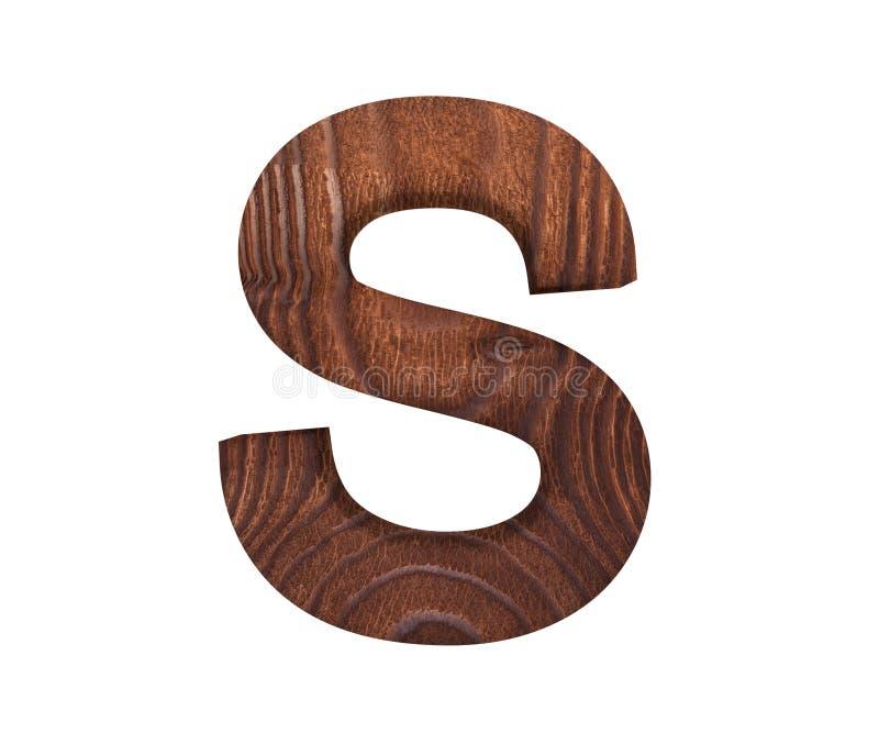 3D dekorativt träalfabet, versal S stock illustrationer