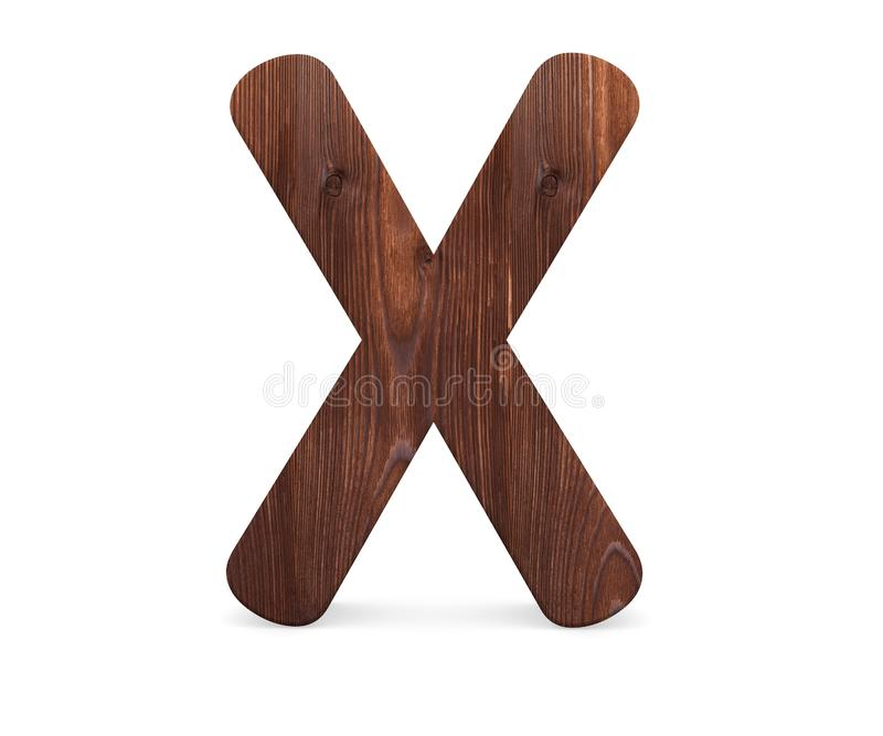 3D dekorativt träalfabet, versal X stock illustrationer