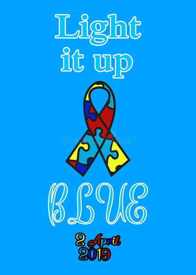 D?a del autismo Ayuda para los ni?os con autismo Camiseta stock de ilustración