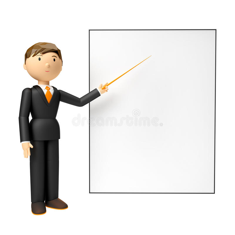 3d rinden del hombre que lleva a cabo al tablero en blanco y que señala el dedo en ellos sobre el fondo blanco imagen de archivo libre de regalías