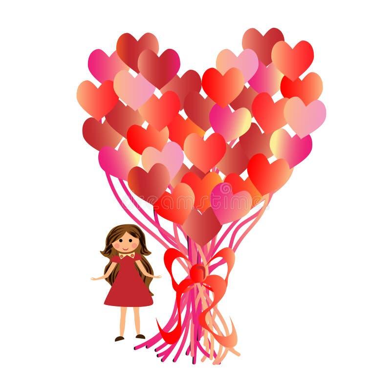 D?a del ` s de la tarjeta del d?a de San Valent?n de la postal Muchacha con los globos en forma de coraz?n fotos de archivo