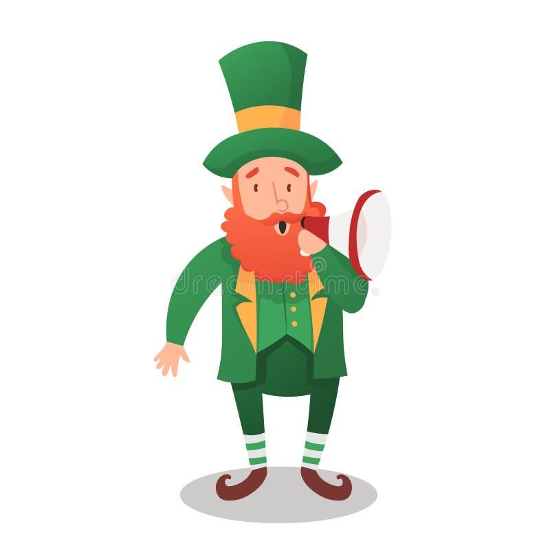 D?a del ` s de StPatrick Duende, carácter nacional tradicional del folclore irlandés Elemento aislado del sistema de ilustración del vector
