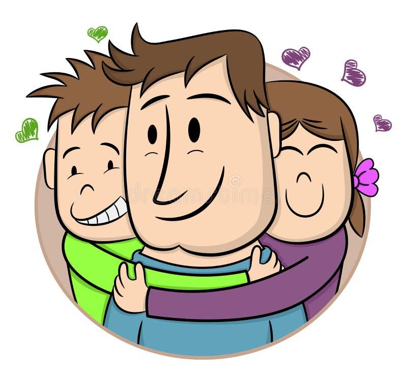 D?a del `s del padre Niños sonrientes que abrazan a su padre Ilustraci?n del vector de la historieta Tarjeta de felicitación exha stock de ilustración