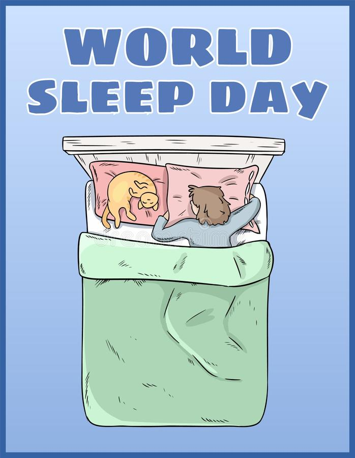 D?a del sue?o del mundo Postal internacional del d?a de fiesta Espacio para el texto Muchacha que duerme pac libre illustration