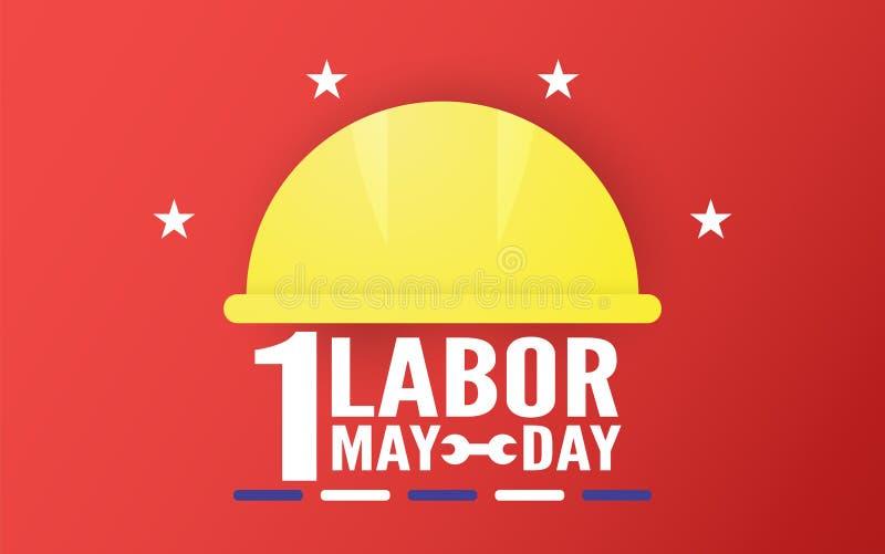 D?a del Trabajo feliz el 1 de mayo de a?os Dise?o de la plantilla para la bandera, cartel, cubierta, anuncio, p?gina web Ejemplo  stock de ilustración