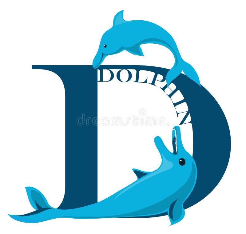 D-delfinbokstav vektor illustrationer