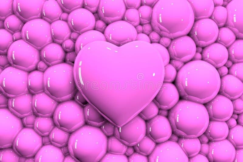 3D Delikatny różowy glansowany serce na tle bąble ilustracja wektor