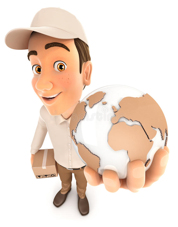 3d delivery man global delivery vector illustration
