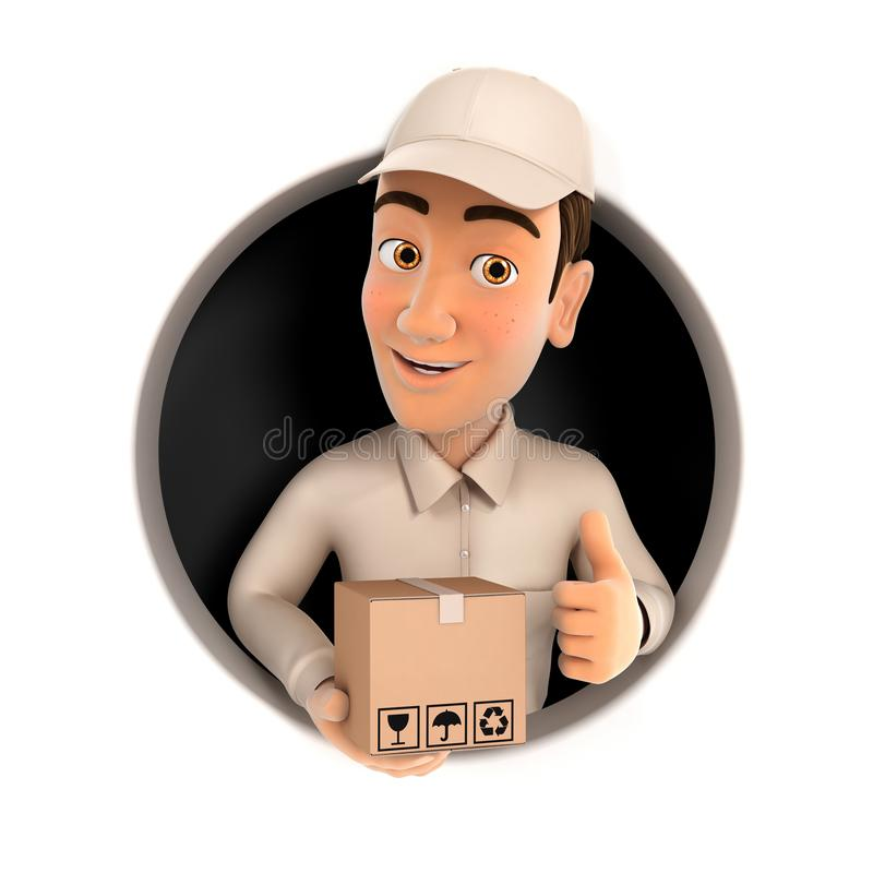 3d delivery man with package and thumb up inside circular hole royalty free illustration