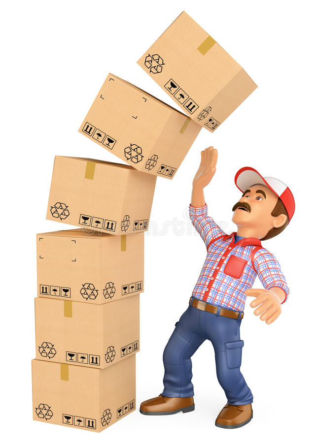 3d delivery man with a pile of boxes falling on top work accide stock illustration. Black Bedroom Furniture Sets. Home Design Ideas