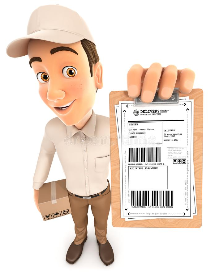 3d delivery man signature request royalty free illustration