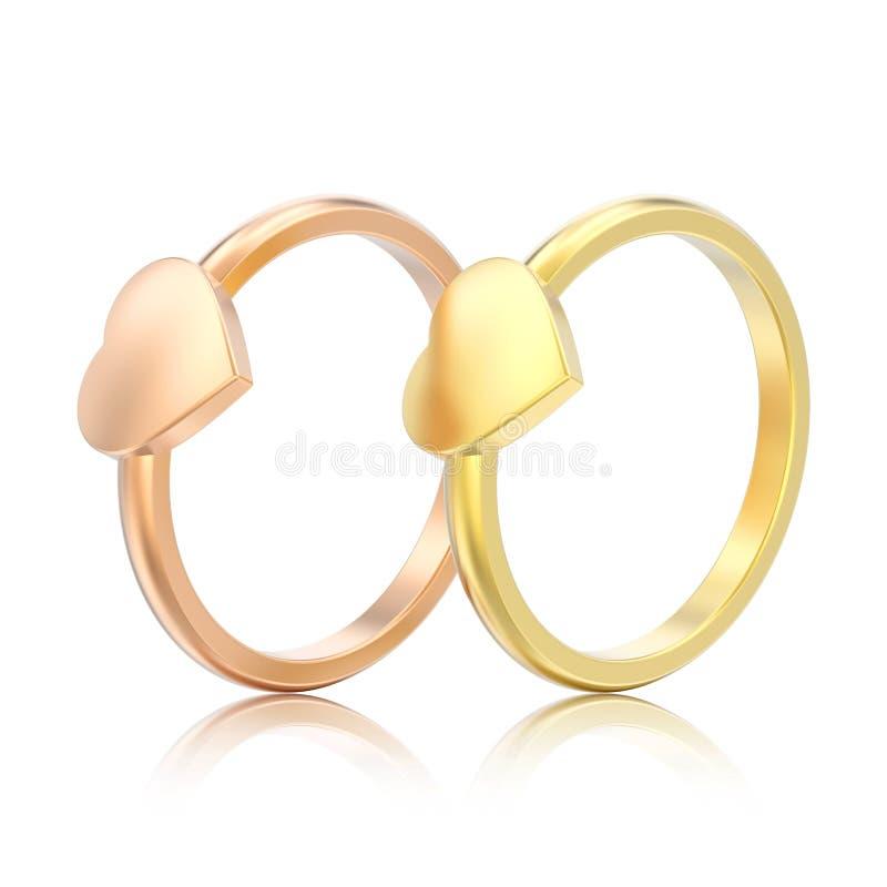 3D dell'oro rosa dell'illustrazione due l'impegno isolato e giallo wed illustrazione vettoriale
