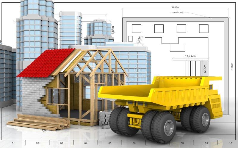3d della casa di legno illustrazione vettoriale