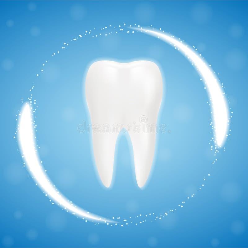 3d dente pulito realistico, processo eliminante del dente denti che imbiancano Concetto dentario di salute Cura orale, ripristino royalty illustrazione gratis