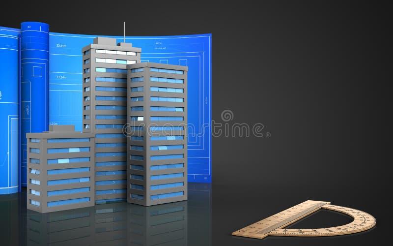 3d des bâtiments de ville illustration stock