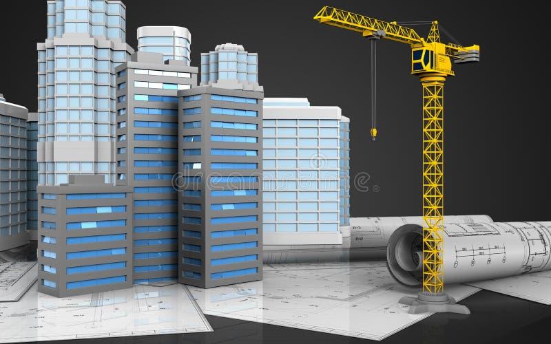 3d des bâtiments de ville illustration de vecteur