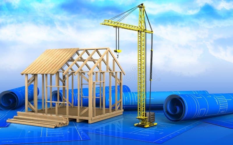3d des Rahmenhausbaus lizenzfreie abbildung